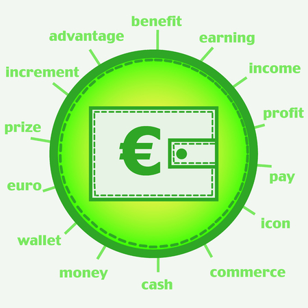 Illustration with wallet. Wallet with euro. Infographic illustration Stock Photo