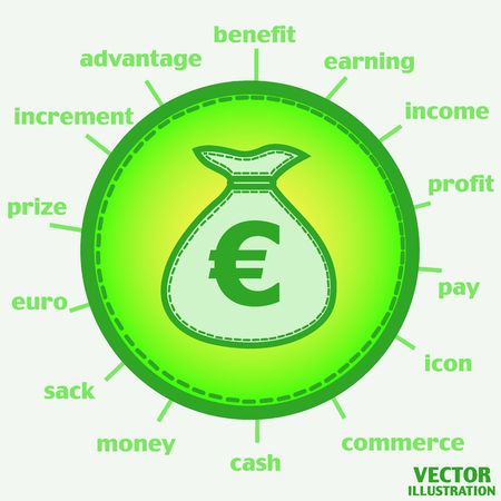 Illustration with wallet. Sack with euro. Bright Infographic illustration. Illustration