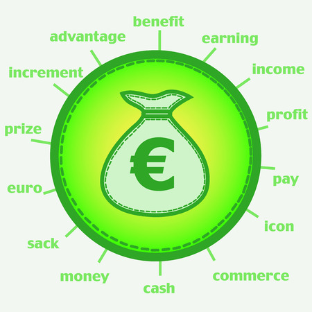 Illustration with wallet. Sack with euro. Infographic illustration