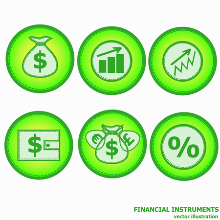 Financial instruments for saving money. Vector illustration. Illustration