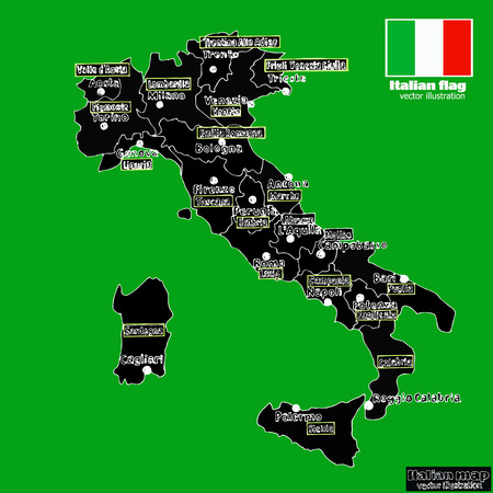 Italy map with Italian regions. Vector.