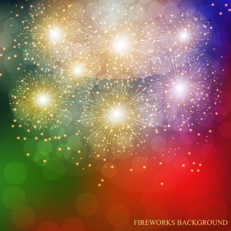 Colorful Fireworks Illustration. Vector.