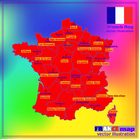 Map of France. Bright illustration with map. Illustration with colorful background. Map of France with major cities and regions. Vector illustration. Vectores