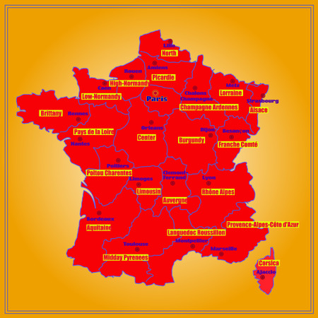 Map of France. Bright illustration with map. Illustration with yellow background. Map of France with major cities and regions. illustration. Foto de archivo