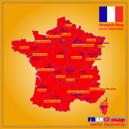 Map of France. Bright illustration with map. Illustration with yellow background. Map of France with major cities and regions. Vector illustration.
