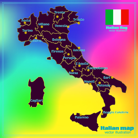 Map of Italy. Bright illustration with map. Illustration with colorful background. Italy map with Italian major cities, regions and flag. Vector illustration. Vectores