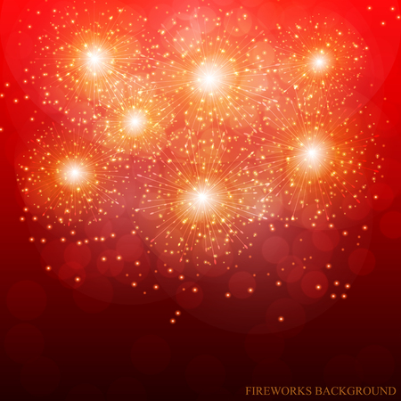 Red Fireworks Illustration. Vector. Vectores