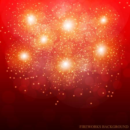Ilustración de fuegos artificiales rojos. Vector.