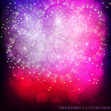 Brightly Colorful Fireworks. Holiday fireworks background. Illustration of Fireworks. Vector illustration.