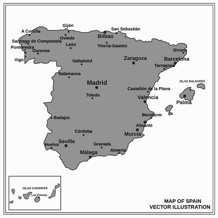 Map of Spain. Bright illustration with map. Illustration with gray background. Spain map with spanish major cities. Vector illustration.
