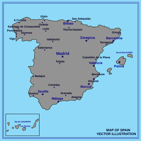Map of Spain. Bright illustration with map. Illustration with light blue background. Spain map with spanish major cities. Vector illustration.