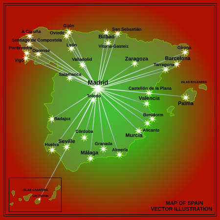 Map of Spain. Bright illustration with map. Illustration with red background. Spain map with spanish major cities. Vector illustration. Vectores