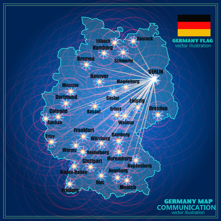 Map of Germany. Bright illustration with map. Germany map in blue colors with lines communications. Vector illustration.