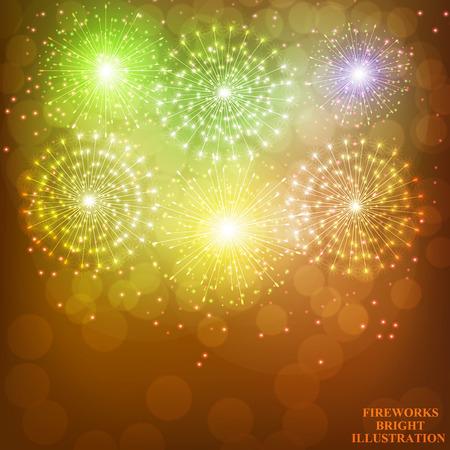 Fuegos artificiales de oro brillante. Fondo de fuegos artificiales de vacaciones. Ilustración de fuegos artificiales. Ilustración vectorial Ilustración de vector