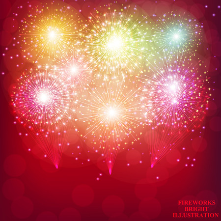 Fuegos artificiales de color rojo brillante. Fondo de fuegos artificiales de vacaciones. Ilustración de fuegos artificiales. Ilustración vectorial Ilustración de vector