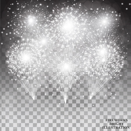 Brightly Fireworks. Holiday fireworks background. Illustration of Fireworks in black and white colors. Vector illustration with transparent background.