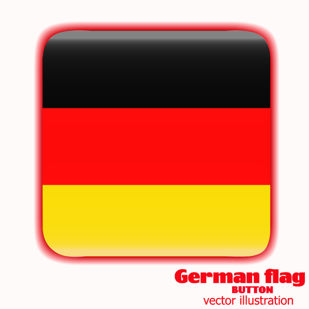 Bright button with flag of Germany. Sparkling banner illustration with flag. Happy Germany day background. Vector illustration.