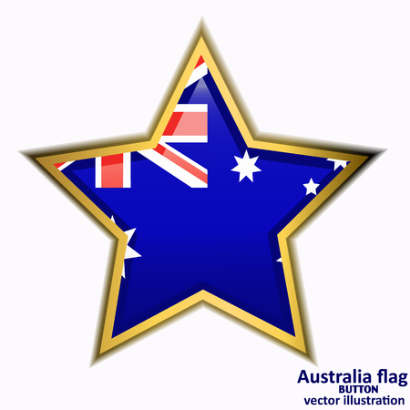 Bright button with flag of Australia. Happy Australia day background. Illustration with white background. Bright illustration with flag. Vector illustration.