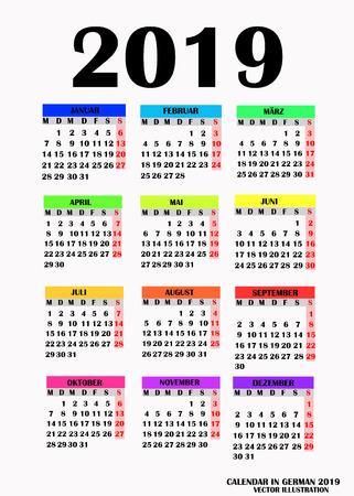 Simple design for calendar 2019. Vector. Illustration