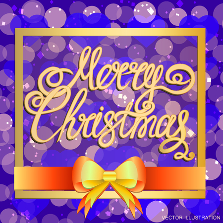 Brightly Christmas Background. Holiday Merry Christmas background. Illustration with lettering design. Vector illustration.