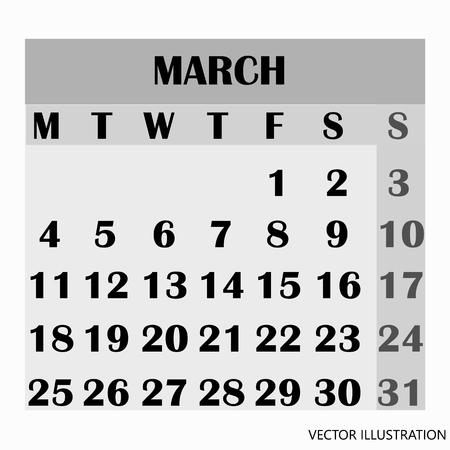Calendar design month march 2019.