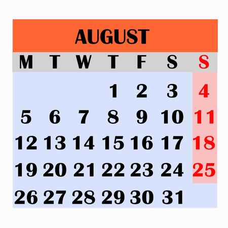 Calendar design month august 2019. Year 2019 calendar. Simple design for calendar 2019. Calendar for organization and business. Week Starts Monday. Imagens