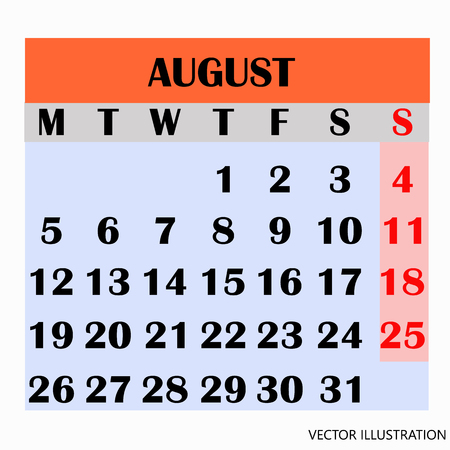 Calendar design month august 2019. Ilustração