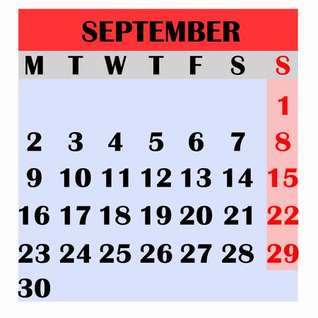 Calendar design month september 2019. Year 2019 calendar. Simple design for calendar 2019. Calendar for organization and business. Week Starts Monday. Imagens