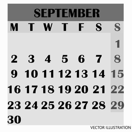 Calendar design month september 2019.