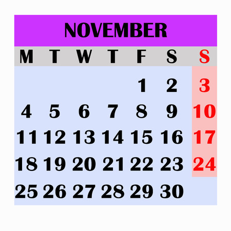 Calendar design month november 2019.