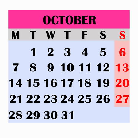 Calendar design month october 2019.