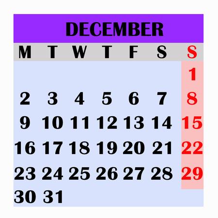 Calendar design month december 2019.