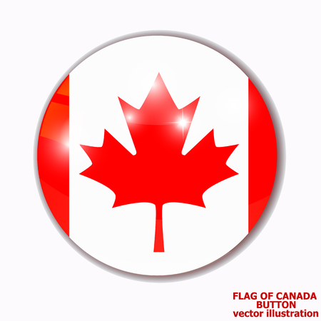Bright background with flag of Canada . Happy Canada day background. Bright button with flag.  イラスト・ベクター素材