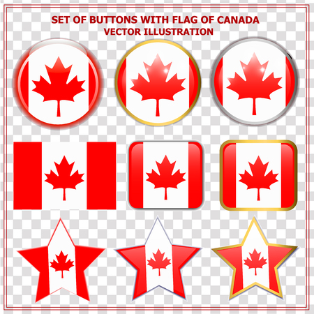 Bright background buttons with flag of Canada . Happy Canada day background. Bright buttons with flag. Illustration with transparent background. Ilustrace