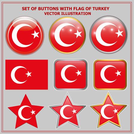 Bright buttons with flag of Turkey. Happy Turkey day buttons. Colorful buttons with flag. Vector illustration. Ilustração