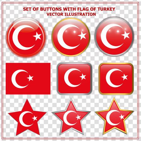 Bright buttons with flag of Turkey. Happy Turkey day buttons. Colorful buttons with flag. Vector illustration with transparen background.. Ilustração