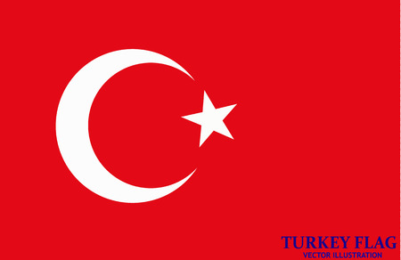 Bright background with flag of Turkey. Happy Turkey day background. Bright button with flag. Vector illustration. Ilustração