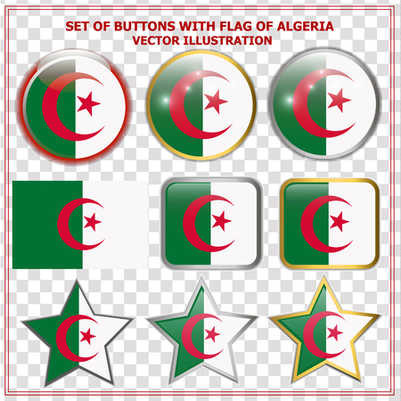 Set of buttons with flag of Algeria. Illustration.