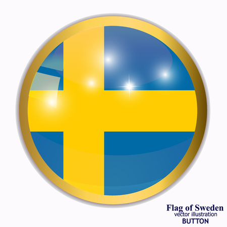 Button with flag of Sweden. Illustration.
