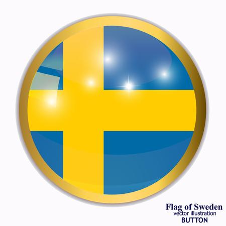 Button with flag of Sweden. Illustration. Illustration