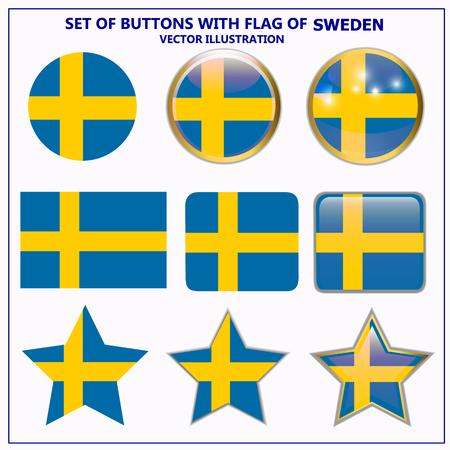 Set of buttons with flag of Sweden. Illustration. Illustration