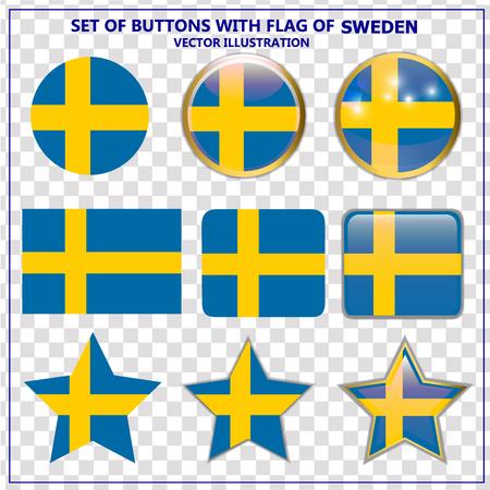 Set of buttons with flag of Sweden. Illustration. Vektorgrafik