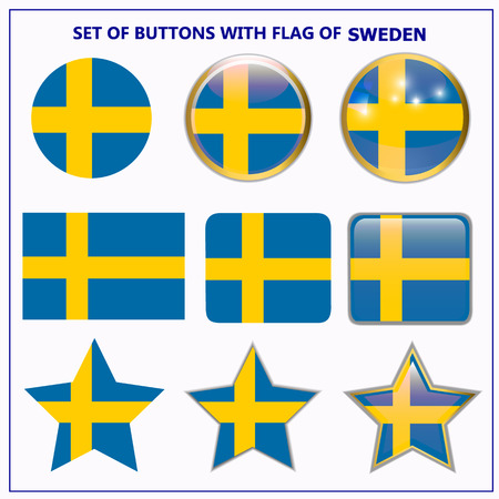 Set of buttons with flag of Sweden. Illustration. Stock Photo