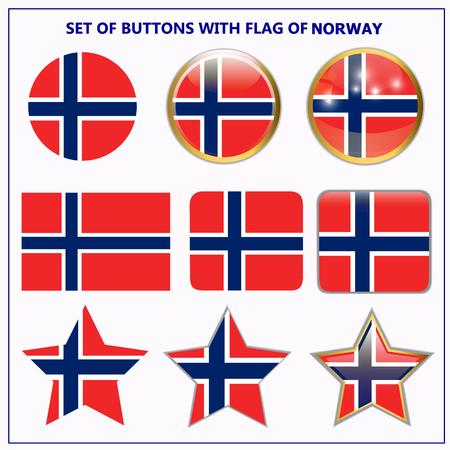 Conjunto de banderas con la bandera de Noruega.