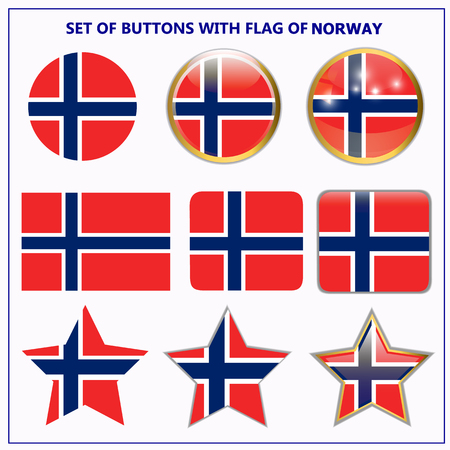 Set of banners with flag of Norway.