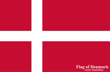 Banner with flag of Denmark. Colorful illustration with flag for web design.