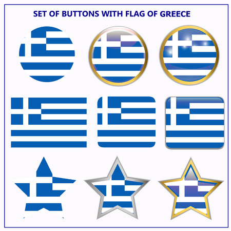 Banners with flag of Greece. Colorful illustrations with flags for web design.