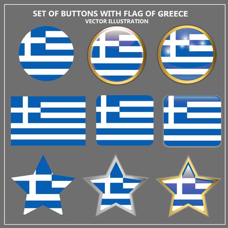 Banners with flag of Greece. Colorful illustrations with flags for web design. Vector illustration. Illustration