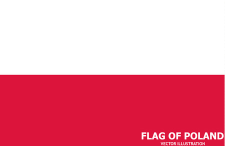 Banner with flag of Poland. Colorful illustration with flag for web design. Illustration with grey background. Illusztráció
