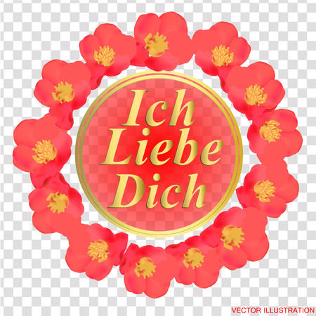 Background with pink flowers. I love you in german language. Card for celebrations. Bright backdrop with flowers. Vektorové ilustrace